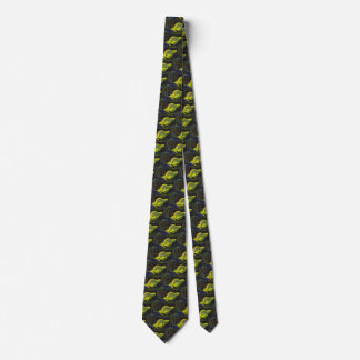 Vintage Science Fiction Neon Green Planet w Rings Neck Tie