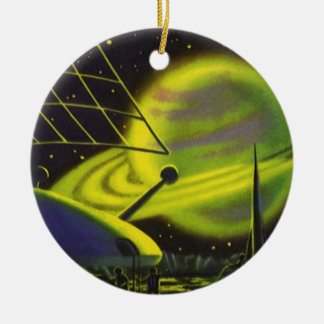 Vintage Science Fiction Neon Green Planet w Rings Christmas Ornament