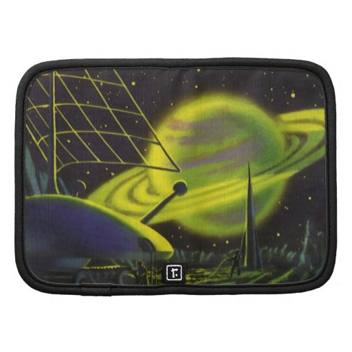 Vintage Science Fiction Neon Green Planet w Rings Folio Planners