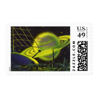 Vintage Science Fiction Neon Green Planet w Rings Postage Stamp