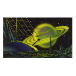 Vintage Science Fiction Neon Green Planet w Rings Posters