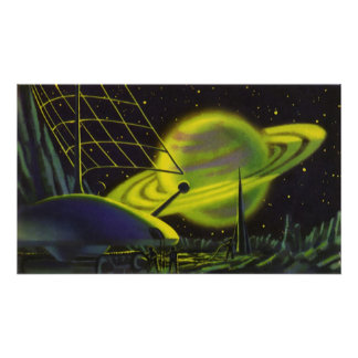Vintage Science Fiction Neon Green Planet w Rings Poster