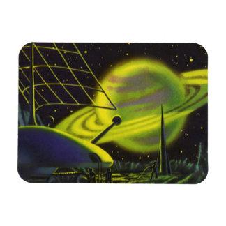 Vintage Science Fiction Neon Green Planet w Rings Vinyl Magnet