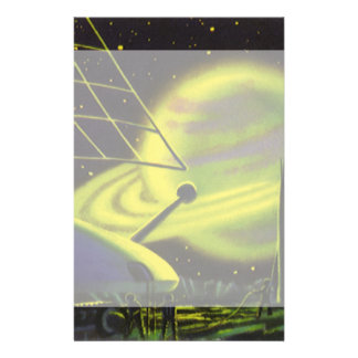 Vintage Science Fiction Neon Green Planet w Rings Stationery