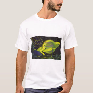 Vintage Science Fiction Neon Green Planet w Rings T-Shirt