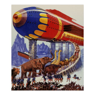 Vintage Science Fiction Noah s Ark Wild Animals Poster