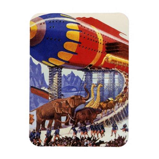 Vintage Science Fiction Noah's Ark Wild Animals Rectangle Magnets
