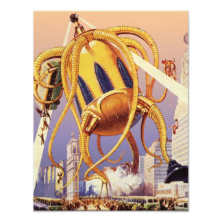 Vintage Science Fiction Octopus Alien Invasion War Invitation