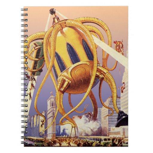 Vintage Science Fiction Octopus Alien Invasion War Spiral Note Book