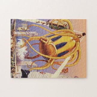 Vintage Science Fiction Octopus Alien Invasion War Puzzle