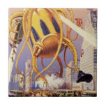 Vintage Science Fiction Octopus Alien Invasion War Tiles