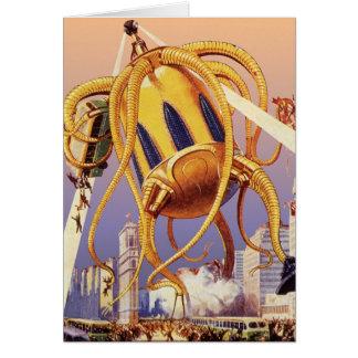 Vintage Science Fiction Octopus Alien War Invasion Greeting Cards