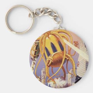 Vintage Science Fiction Octopus Alien War Invasion Keychains