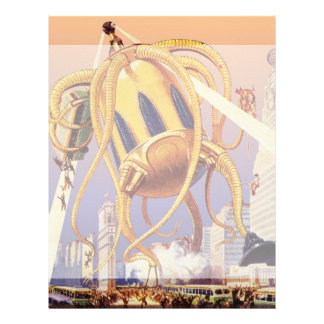 Vintage Science Fiction Octopus Alien War Invasion Letterhead