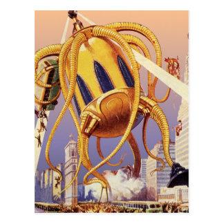 Vintage Science Fiction Octopus Alien War Invasion Postcard