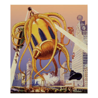 Vintage Science Fiction Octopus Alien War Invasion Print