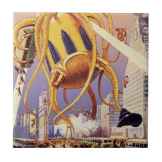 Vintage Science Fiction Octopus Alien War Invasion Small Square Tile
