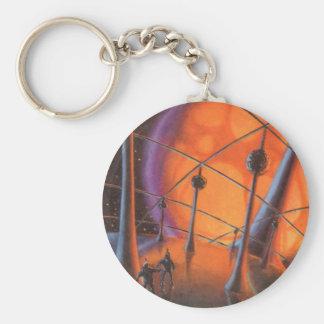 Vintage Science Fiction, Orange Sun and Aliens Keychain