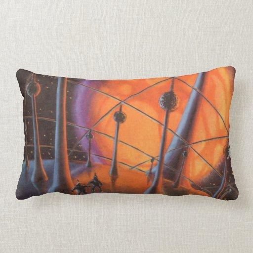 Vintage Science Fiction, Orange Sun and Aliens Pillow