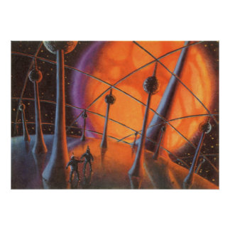 Vintage Science Fiction, Orange Sun and Aliens Poster