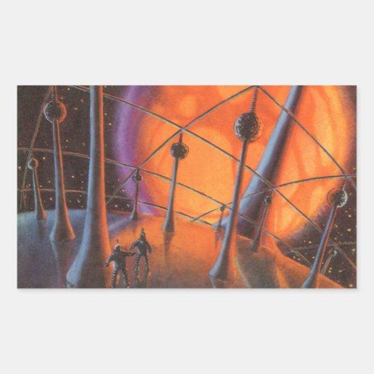 Vintage Science Fiction, Orange Sun and Aliens Rectangular Sticker