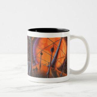 Vintage Science Fiction, Orange Sun and Aliens Two-Tone Coffee Mug