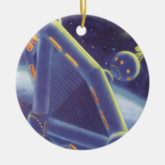 Vintage Science Fiction Orbiting Space Station Ceramic Ornament