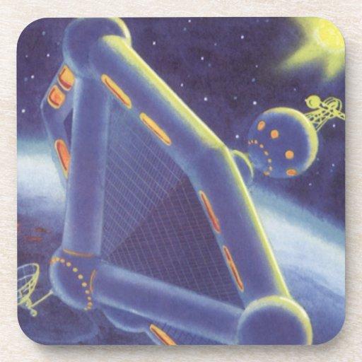 Vintage Science Fiction Orbiting Space Station Drink Coaster
