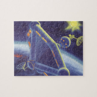 Vintage Science Fiction Orbiting Space Station Jigsaw Puzzle