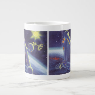Vintage Science Fiction Orbiting Space Station Large Coffee Mug
