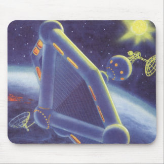 Vintage Science Fiction Orbiting Space Station Mouse Pad