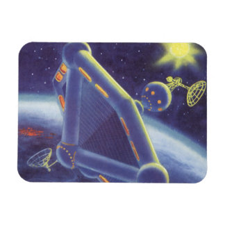 Vintage Science Fiction Orbiting Space Station Rectangular Photo Magnet