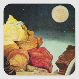 Vintage Science Fiction Quarry Planet Travelers Square Sticker