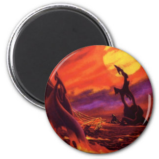 Vintage Science Fiction Red Lava Volcano Planet Magnets
