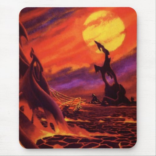 Vintage Science Fiction Red Lava Volcano Planet Mouse Pad