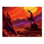 Vintage Science Fiction Red Lava Volcano Planet Postcard