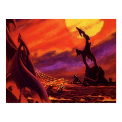 Vintage Science Fiction Red Lava Volcano Planet Postcards