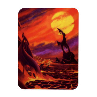 Vintage Science Fiction Red Lava Volcano Planet Rectangular Photo Magnet
