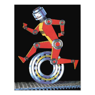 Vintage Science Fiction Robot, Machine Man Running 4.25x5.5 Paper Invitation Card
