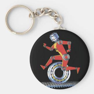 Vintage Science Fiction Robot, Machine Man Running Keychains