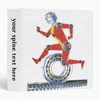 Vintage Science Fiction Robot Running with Wheel Binder