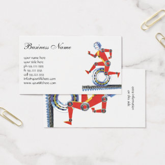 Vintage Science Fiction Robot Running with Wheel Business Card