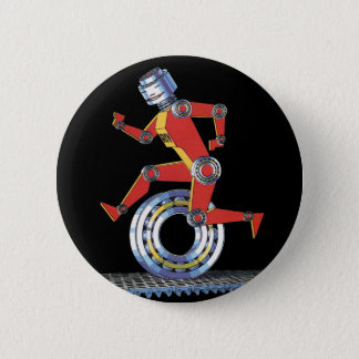 Vintage Science Fiction Robot Running with Wheel Button