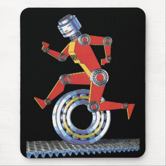 Vintage Science Fiction Robot Running with Wheel Mouse Pad