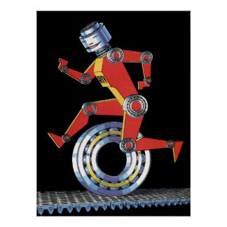 Vintage Science Fiction Robot Running with Wheel Poster