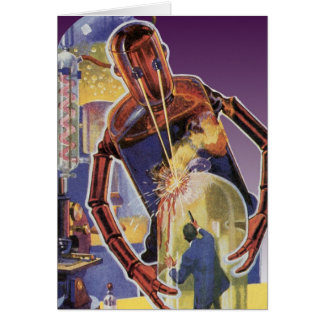 Vintage Science Fiction Robot with Laser Beam Eyes Card