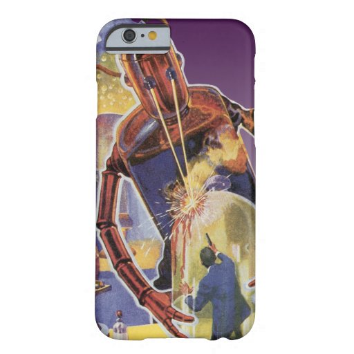 Vintage Science Fiction Robot with Laser Beam Eyes iPhone 6 Case