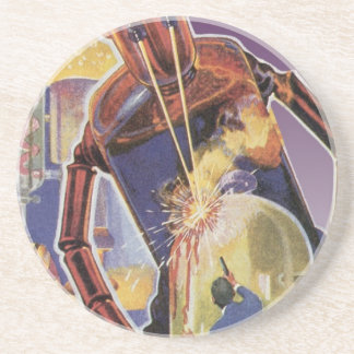 Vintage Science Fiction Robot with Laser Beam Eyes Drink Coaster