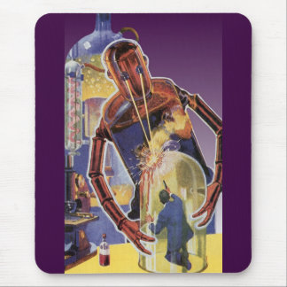 Vintage Science Fiction Robot with Laser Beam Eyes Mouse Pad