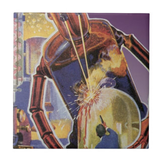 Vintage Science Fiction Robot with Laser Beam Eyes Small Square Tile